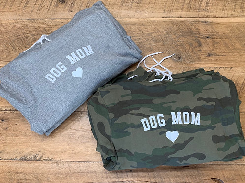 Dog Mom Hoodie in Camo and Gray