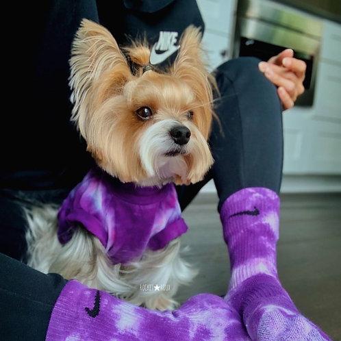 Purple Tie Dye Dog Shirt and Nike Socks