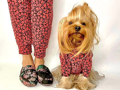 Long Sleeve Floral Dog Shirt and Adult Joggers