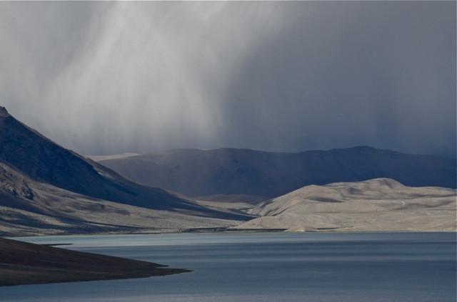 A rain squall above Tso Moriri