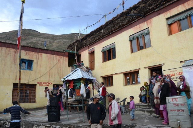 We enter the Spiti Valley. Here, the wonderful little town of Losar...where everything is happening at once