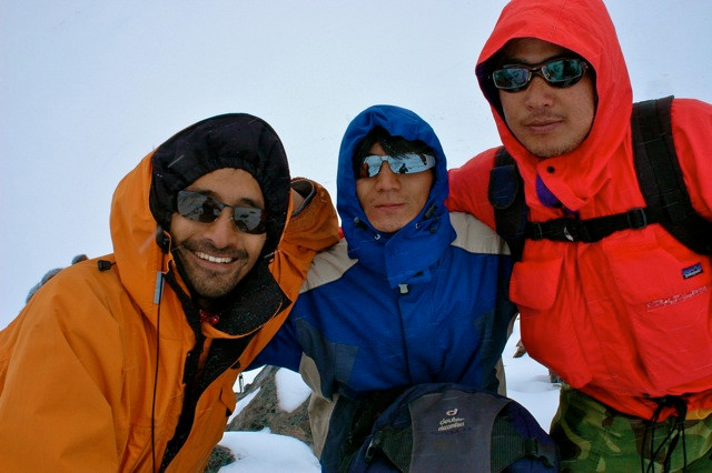 From left: Dakpa (the charmer and linguist), Sonam (aka Spiderman), and Norbu (the Bull) upon the Sho La Pass where 20 minutes after this photo was taken, we almost lost Dakpa in a blizzard