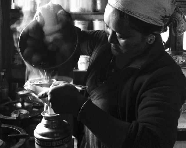 Churned Tibetan tea: butter, salt, stewed tea leaves all coerced into a potent 'meal'.