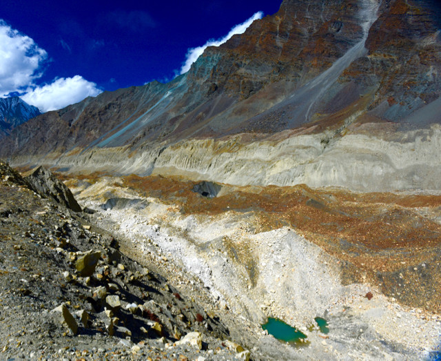 Some of the multi-hues of Chaturangi Glacier