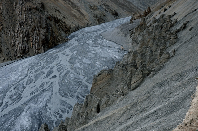 Glacier water sluices down near the Changtang region of the Himalayas