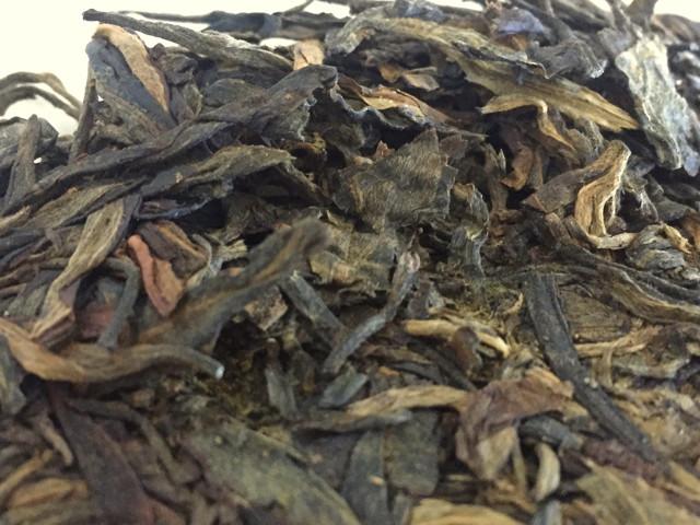 Aged tea leaves up close