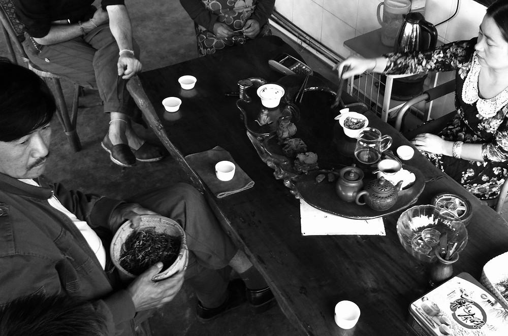 Tea serving at tea table