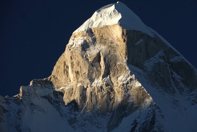 The 6500 + metre peak of Shivling be the seen of tragedy two weeks after this photo was taken
