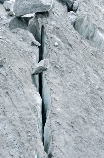 One of the great dangers upon the glacier is the penchant for crevasses to simply yawn open...and swallow up whatever might be lurking above