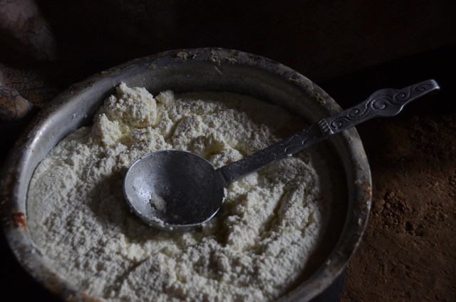 Nomadic Yoghurt (called 'who') is traditionally served to guests.