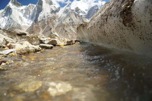 Glacier water runs towards the Gangotri Glacier