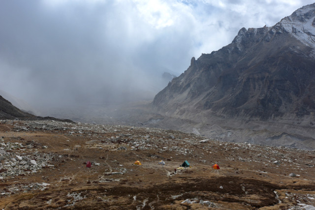 Our camp at Nandanvan with a storm coming from up valley