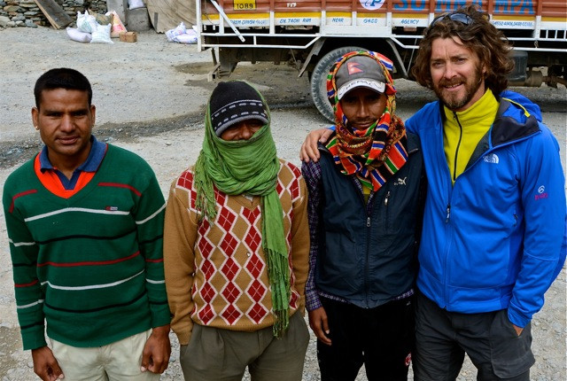 """Porter Power. Left to Right:  """"Shoulders"""", """"Leader"""", and """"Mountain""""...and myself. Honoured to have had a fearsome team in the mountains"""