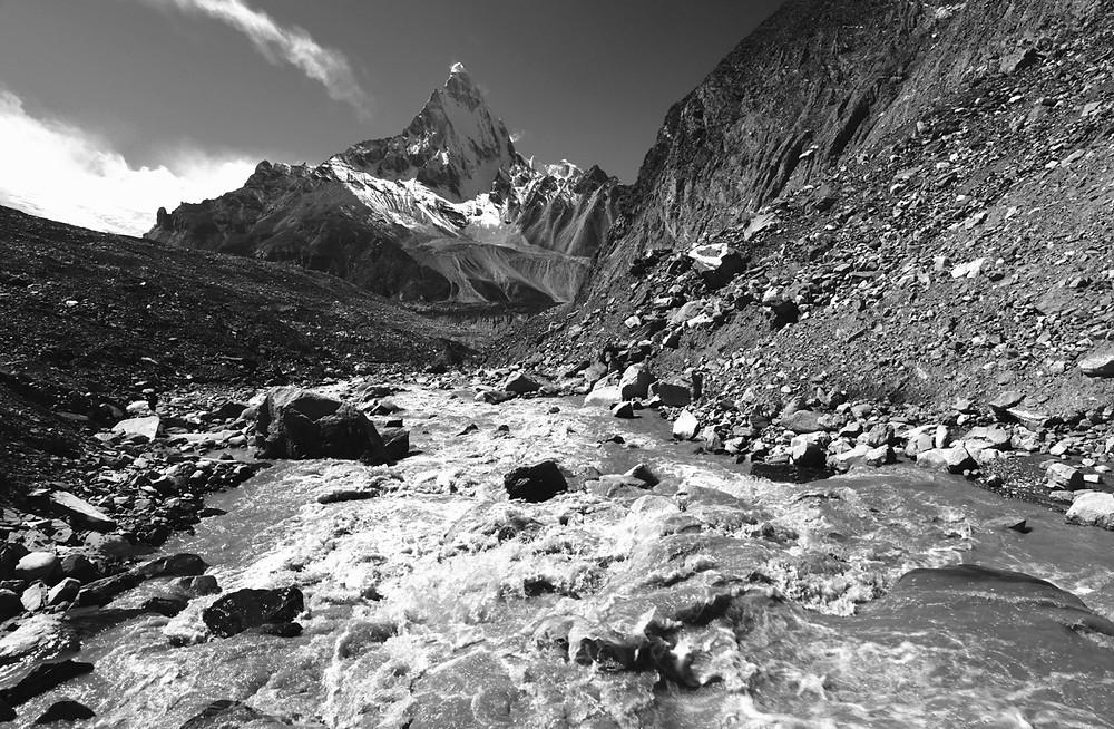 Glacier meltwater flows towards the Gangotri Glacier