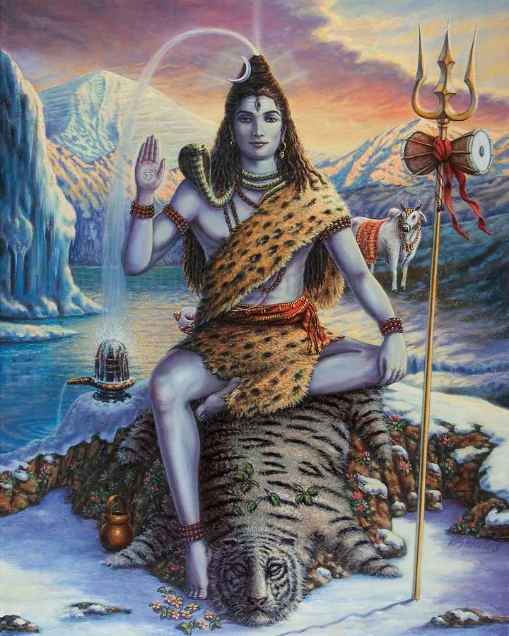 Lord Shiva depicted with the Ganga River flowing from his head.