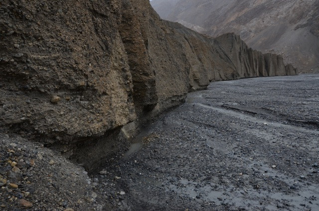 A wall that has been cut and chiseled by a thousand years of glaciers, and glacial streams