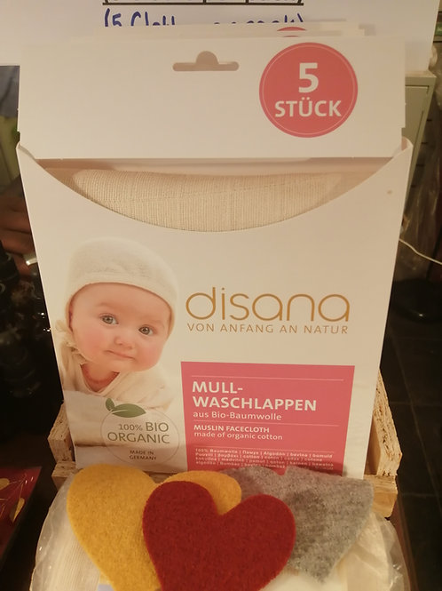 Disana Organic Cotton Muslin Face/Body Wash Cloths (5 to a Pack)