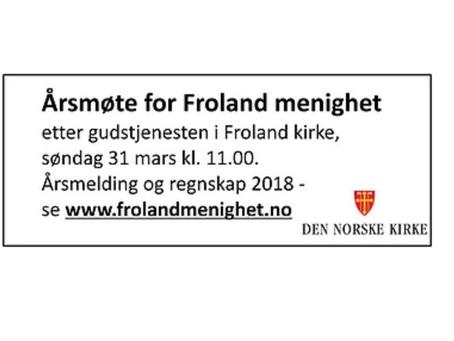 Årsrapport 2018 for Froland menighet