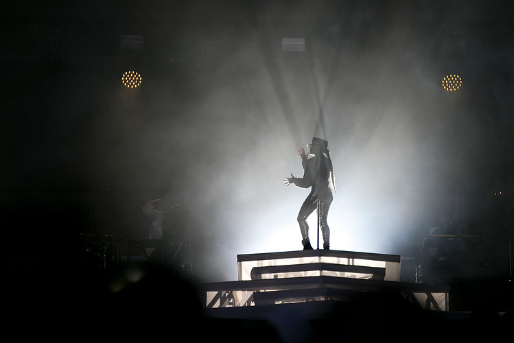 Janelle Monae is silhouetted during her performance at the Made in America music festival on Philadelphia's Benjamin Franklin Parkway on Sunday, Sept. 2, 2018.  Maggie Loesch / The Temple News