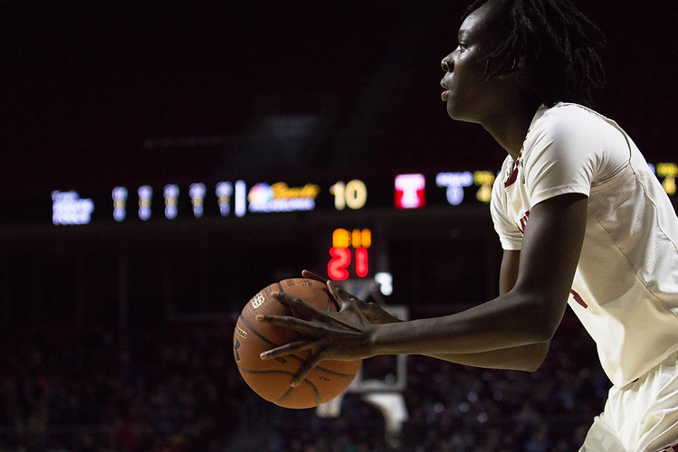 Temple Owls forward Lena Niang prepares to shoot a three-point shot in a game against the Cincinnati Bearcats on Wednesday, Feb. 21, 2018.  Maggie Loesch / The Temple News