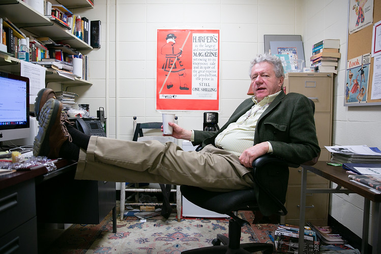 Journalism professor Larry Stains advises a student in his office in Annenberg Hall at Temple University on the morning of Tuesday, Feb. 19, 2019. Maggie Loesch / Personal