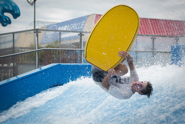 Daniel Tepper, 19, of Cape May Court House, N.J., flowboards at Splash Zone Waterpark in Wildwood, N.J., on the morning of Thursday, July 12, 2018.  Maggie Loesch / The Philadelphia Inquirer