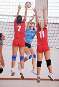 volleyball game sport with group of youn