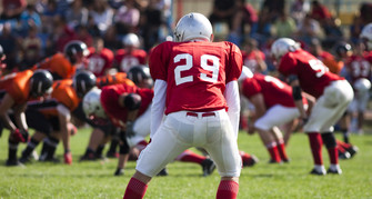 american football game with out of focus