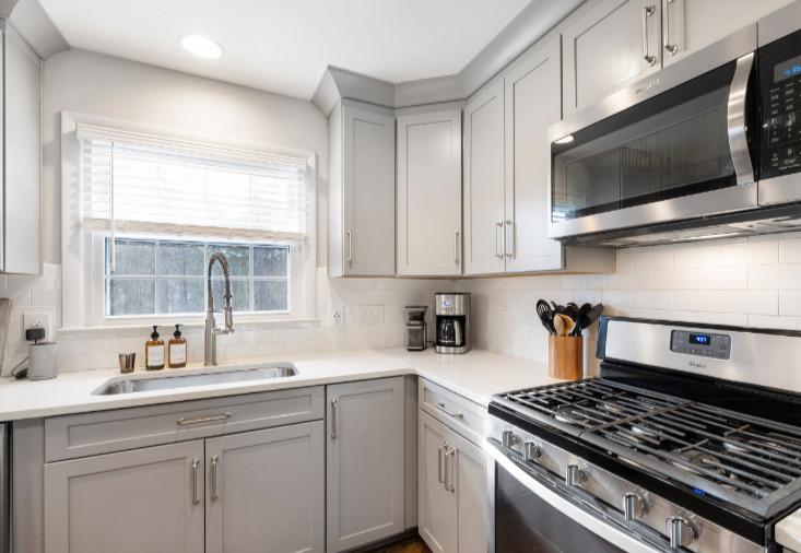 Unclutterd organized kitchen counters