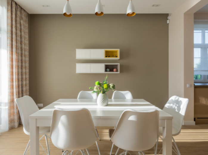 Uncluttered organized dining room table