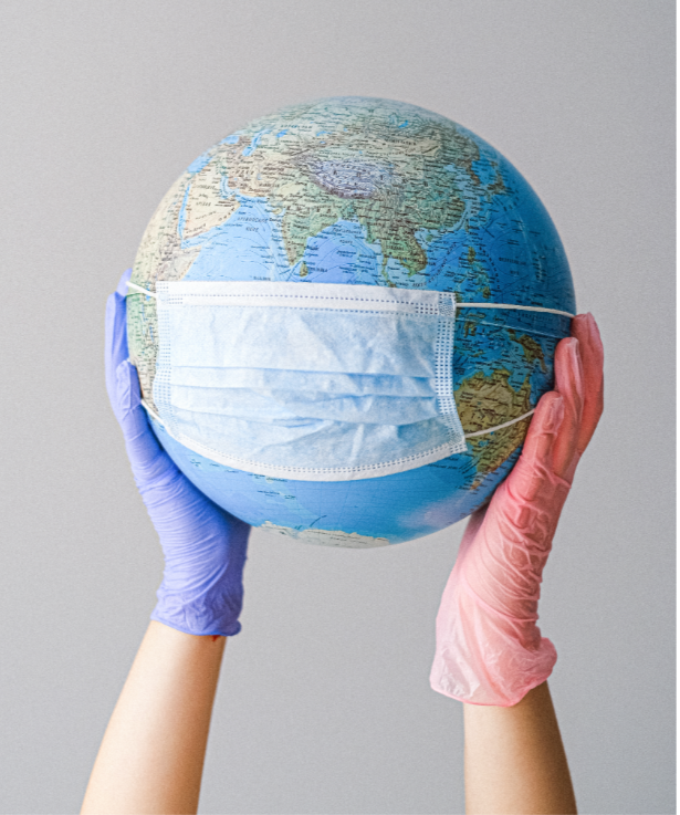 A face mask on the globe