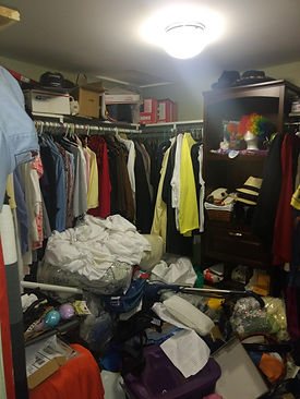disorganized cluttered closet
