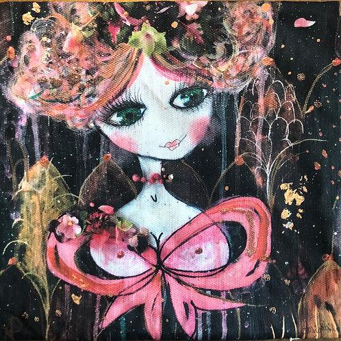 KonstKuddFodral Pink Ribbon GreenEyes