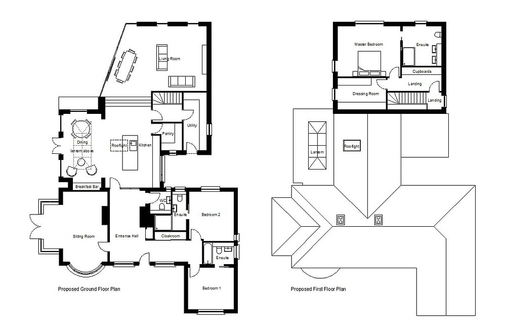 Proposed Ground and First Floor Plans