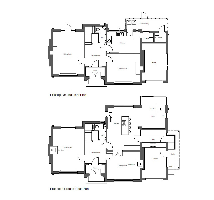 Existing and Proposed Ground Floor Plans