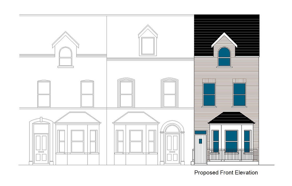 Front elevation of new apartments