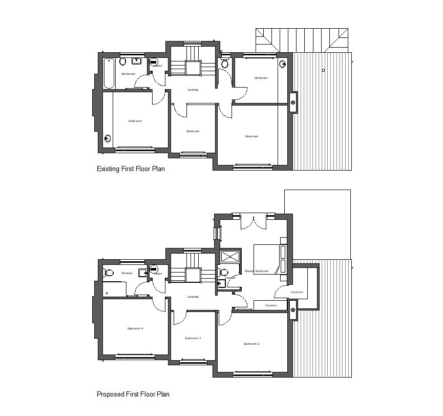 Existing and Proposed First Floor Plans
