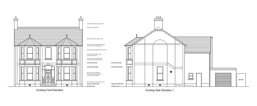Elevations drawn before Building Control Application