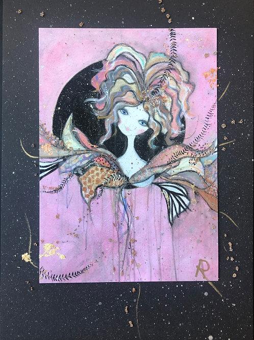 Pink Moon på svart guldstänkt bakgrund