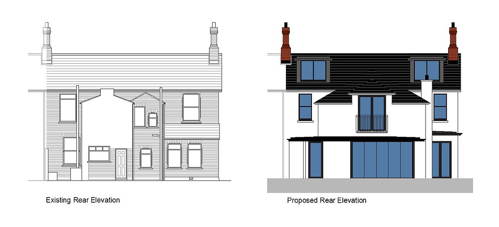 Existing and proposed rear elevations