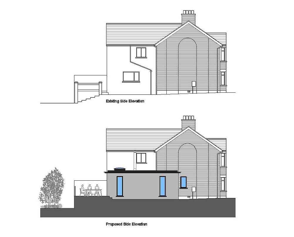 Existing and Proposed Side Elevations
