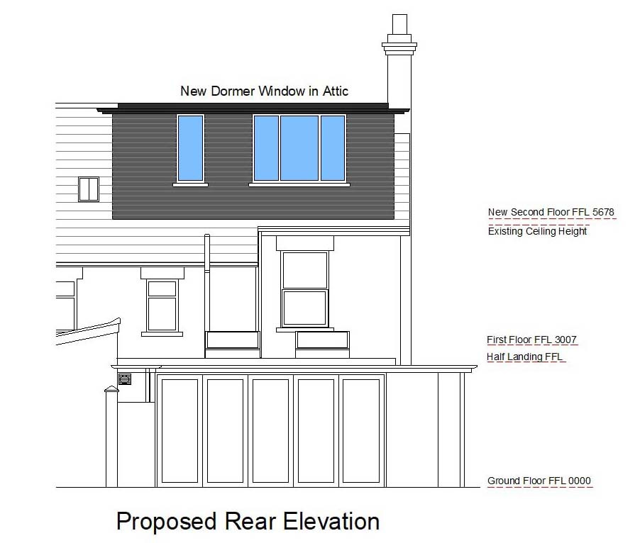 Attic conversion proposed elevation