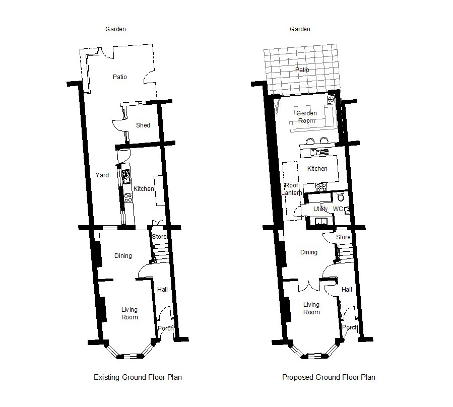 Extending your home. Before and after plans.