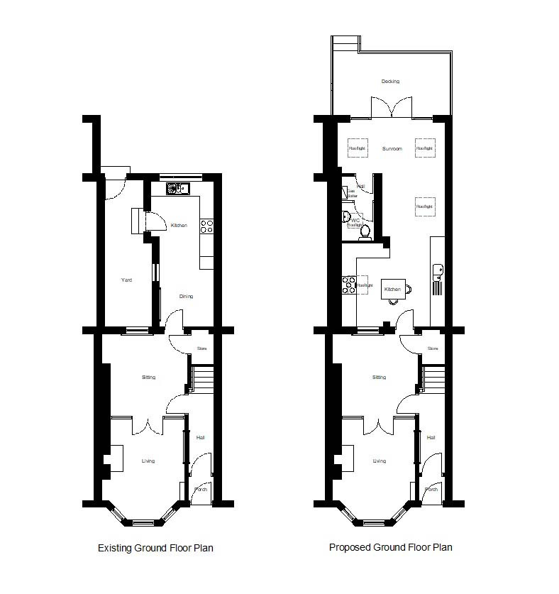 Single storey rear extension to provide new open plan Kitchen and Sunroom with downstairs WC