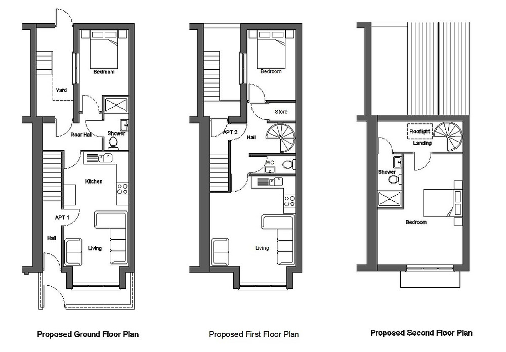 Proposed Floor Plans of Apartments