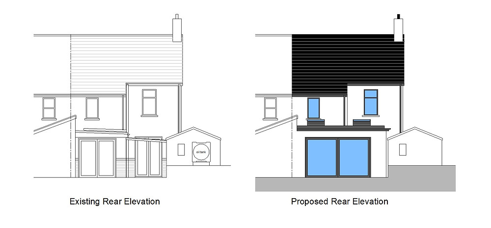 Existing and proposed rear extension elevations