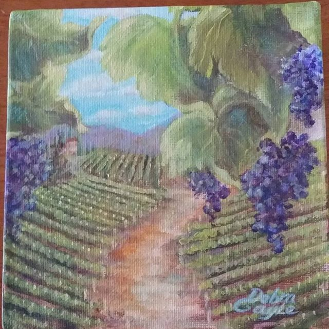 Mini gallery wrapped #acrylicpainting #vineyard #grapes #grapevinepainting #lovetopaint🎨 _For #fundraiserevent Mighty Mini Masterpieces Arts