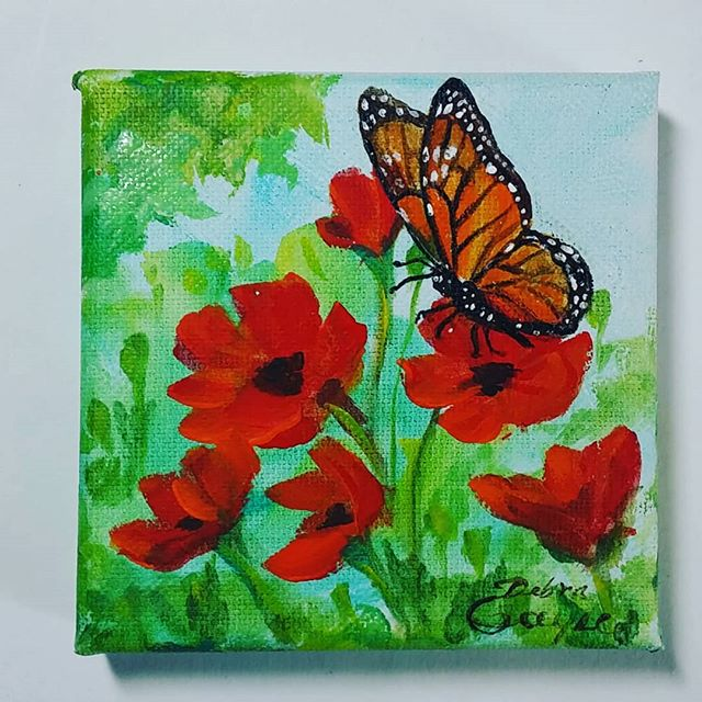 Another quick mini, 4_×4_#poppies #butterfly #acrylpainting #nature #lovetopaint #artistry_flair #decorativepaint #decorativeartist #floral