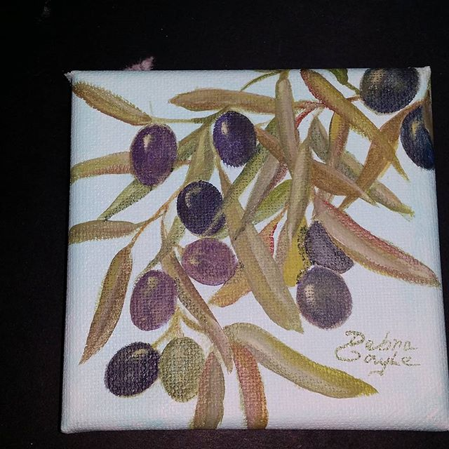 4_ × 4_ olive branch acrylic on canvas