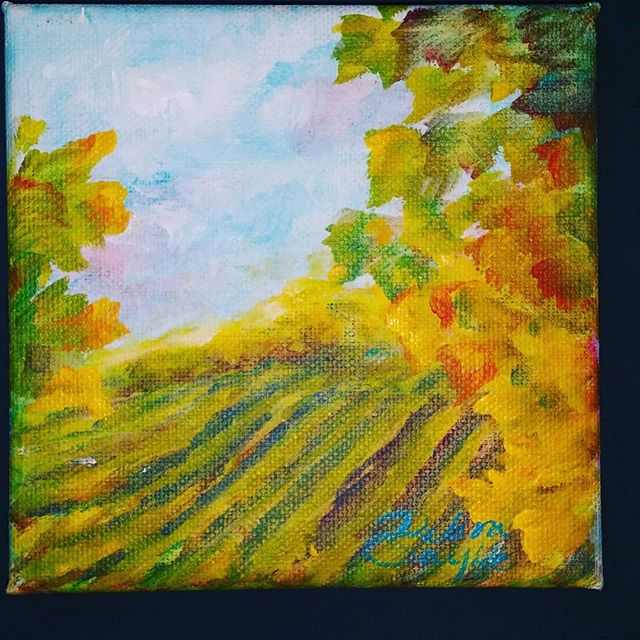Quick acrylic on canvas, 5_x5_. Vinyard vignette